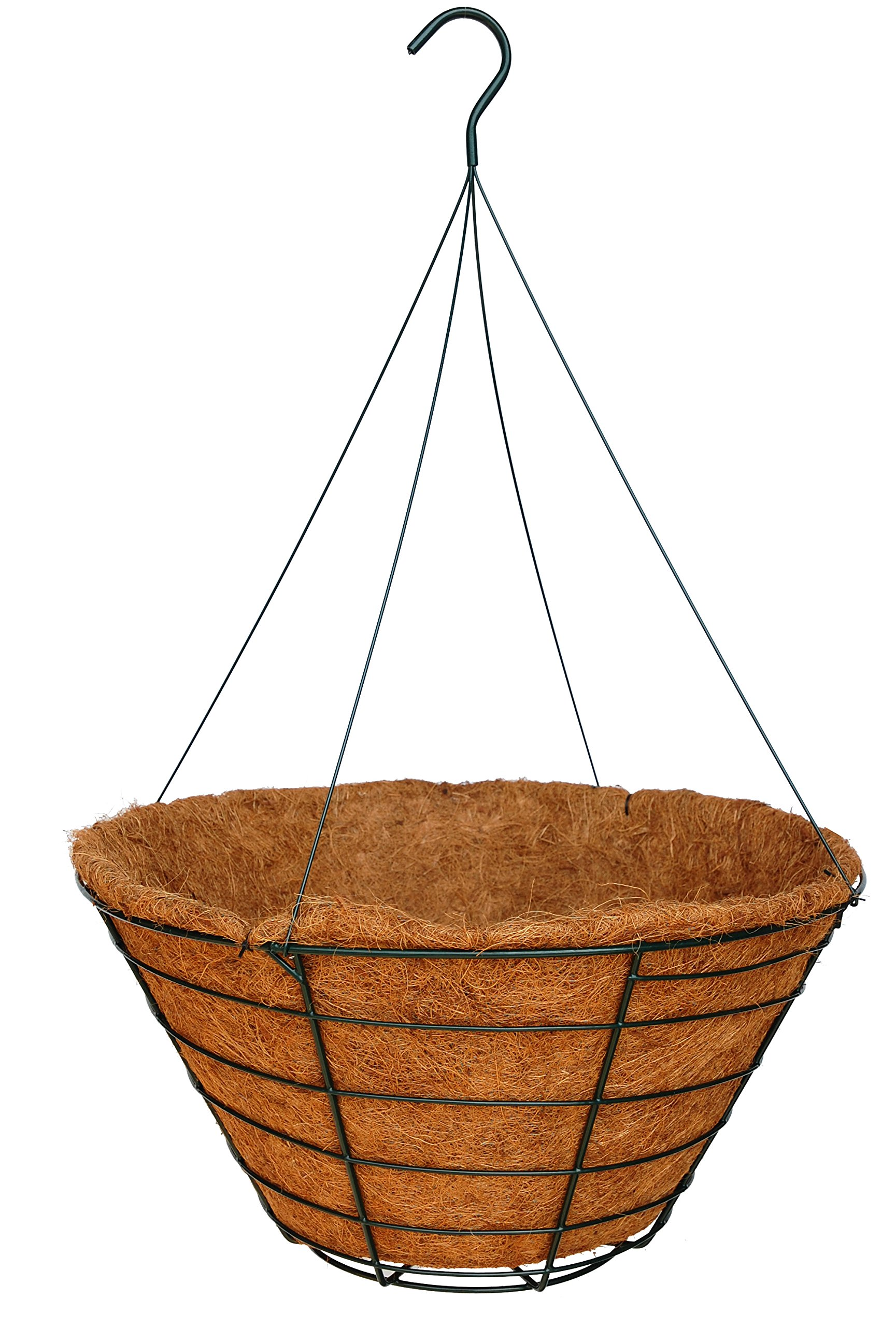 24'' Traditional Heavy Duty Hanging Basket with Hand Formed Cocomoss Liner and Rigid Hanger - Case of 12 Sets