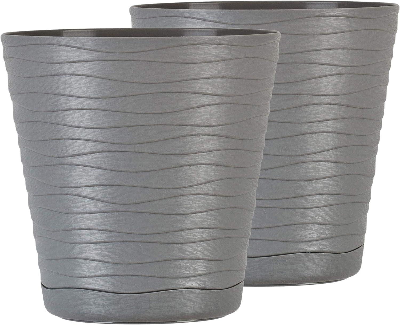 Macetero con platillo, 2 unidades, forma redonda, macetero para interior, de plástico, ligero, paquete doble, con diseño de ondas 3D (11 cm, color gris)