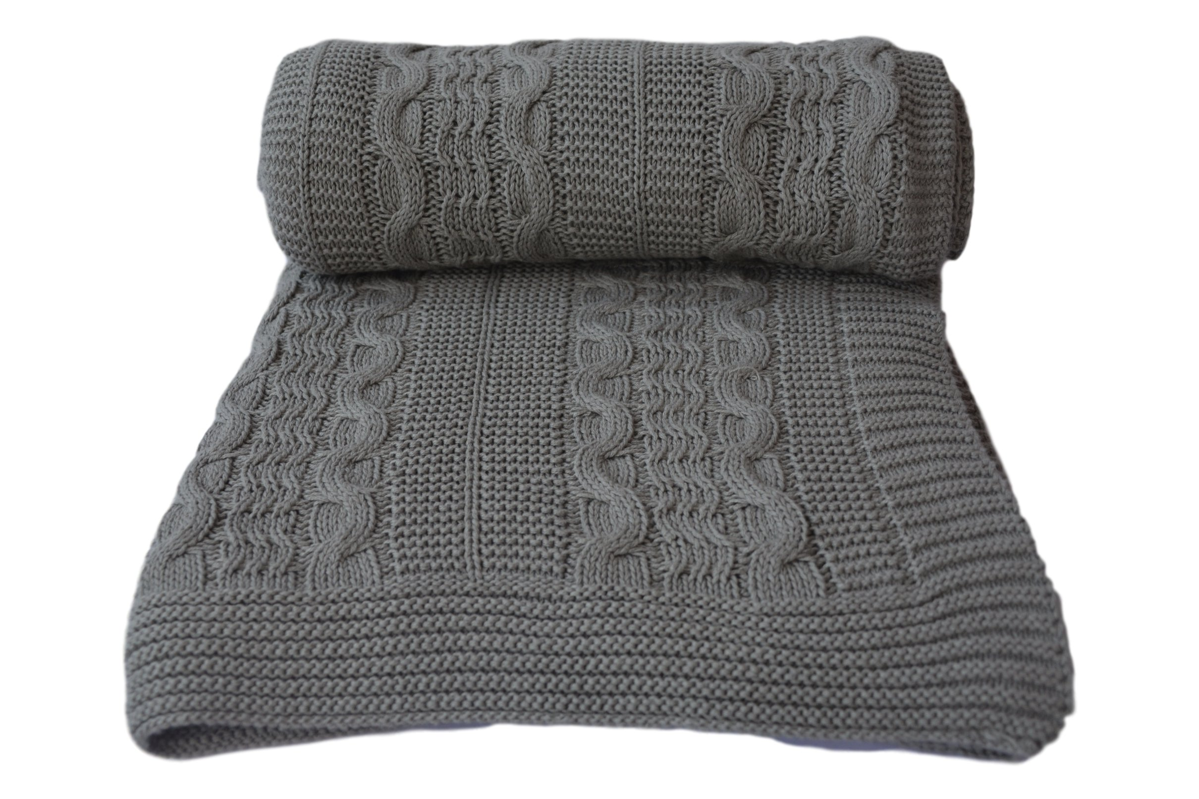 Aztocratic Delight Throw Collection: Cotton Throw Blanket, Premium Chevron Pattern, Dual Color Throw Blanket for Sofa/Bed or Couch, Soft and Cozy Feel, Ideal for All Year Round Use. (Light Grey)