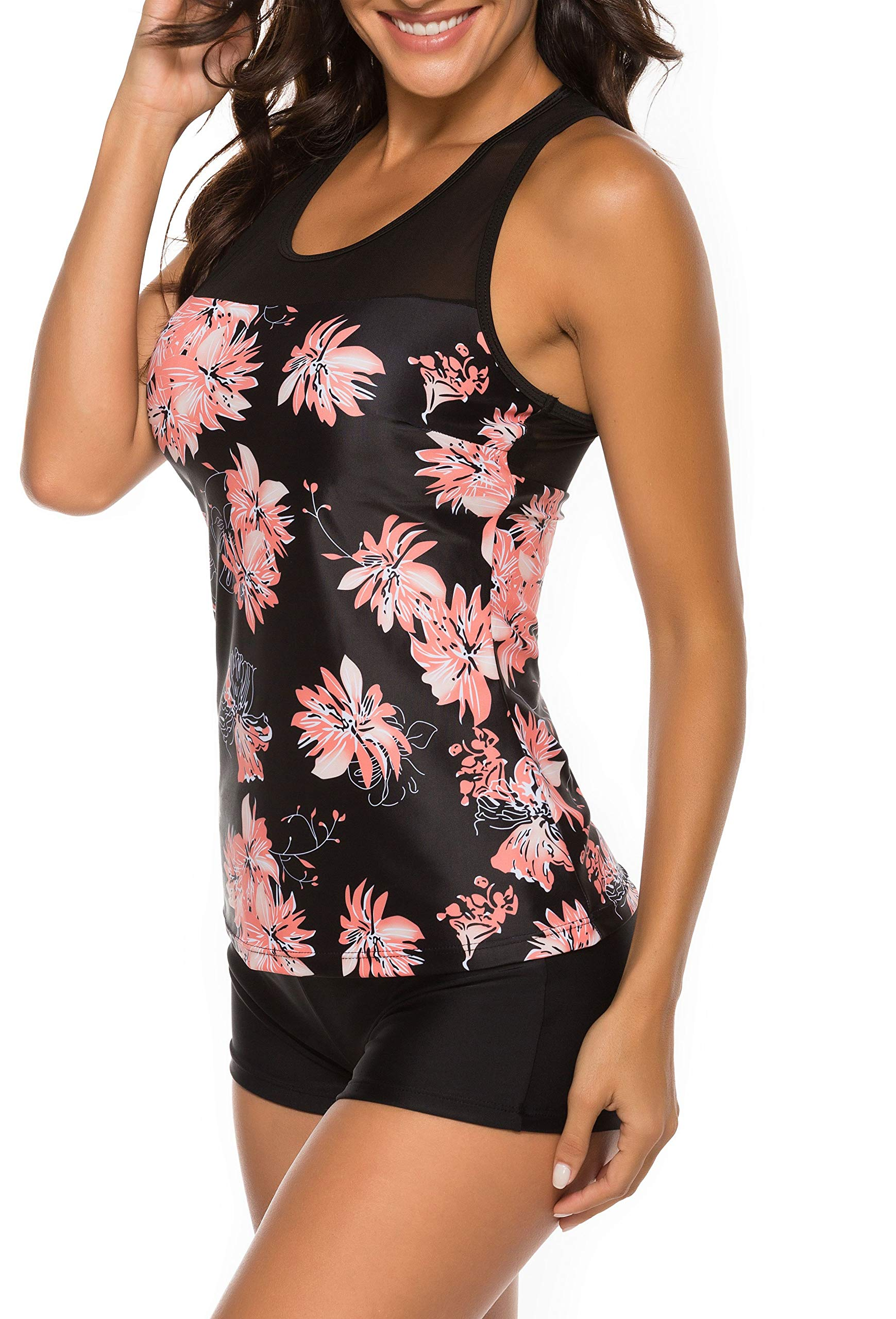 Willingyo Two Pieces Swimsuits for Women Racerback Tankini Bathing Suits with Boyshort Floral Print M