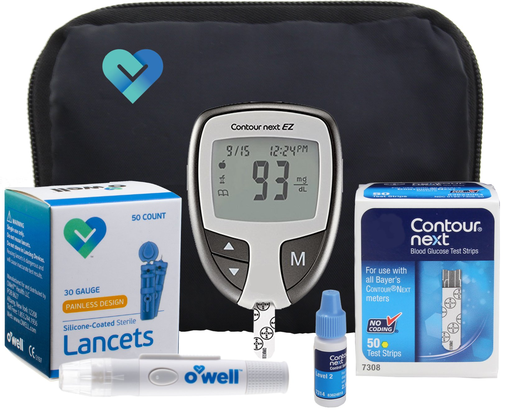 Contour NEXT Blood Glucose Testing Kit, 50 Count | Contour NEXT EZ Meter, 50 Contour NEXT Blood Glucose Test Strips, 50 Lancets, Lancing Device, Control Solution, Manual's, Log Book & Carry Case