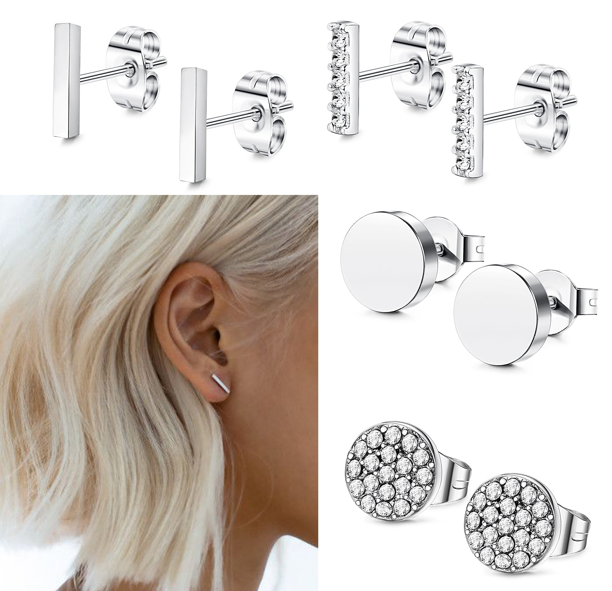 FIBO STEEL Stainless Steel CZ Bar Stud Earrings for Men Women Girls Silver-tone