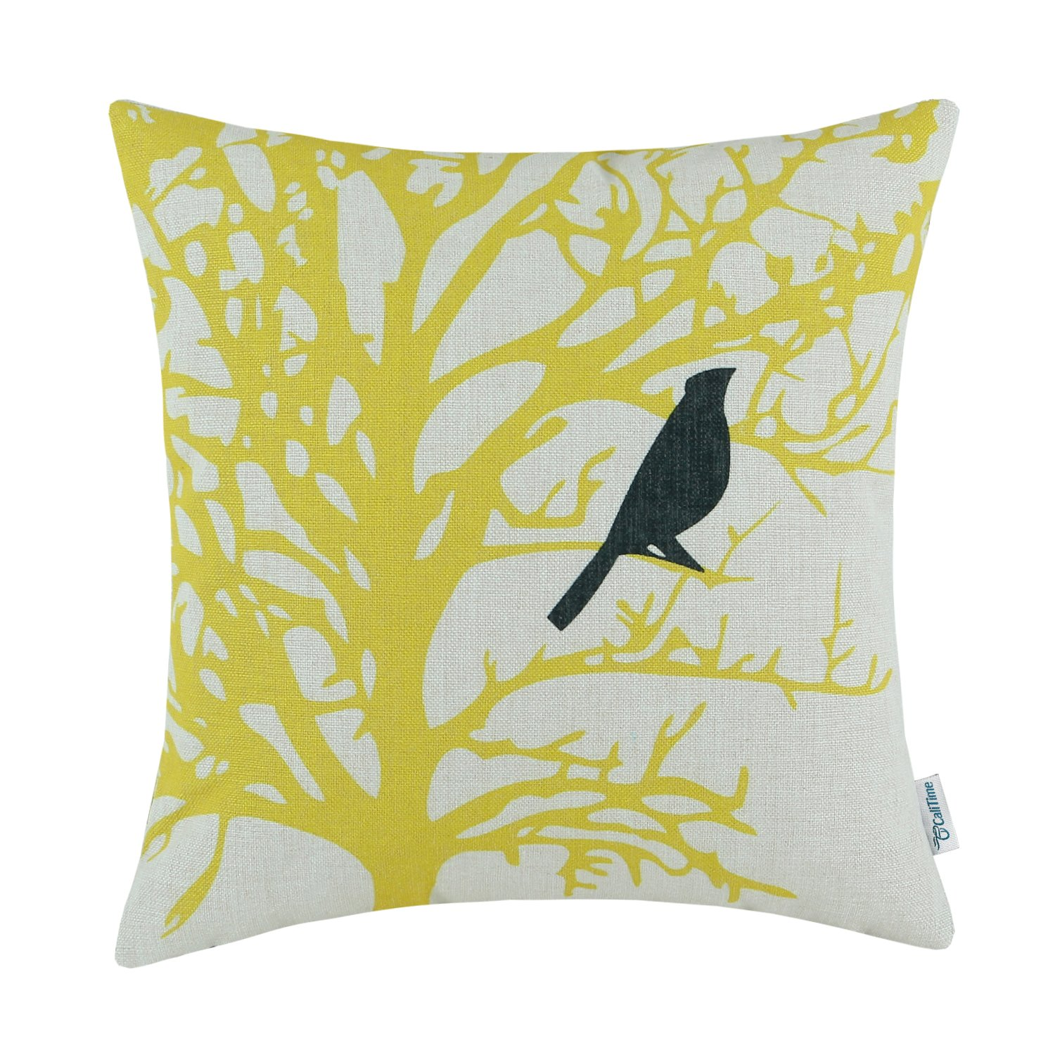 CaliTime Canvas Throw Pillow Cover Case for Couch Sofa Home Decoration Cute Bird Tree Branches Silhouette 18 X 18 Inches Teal Black