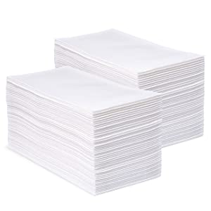 """CrossbridgePro - White Disposable Linen Feel Napkins and Hand Towels - Home and Office Kitchen Supplies, Bathroom Hand Towel Use - Super Soft Airlaid Multifold Tissue - 12""""x17"""" Unfolded - 200 Pcs"""