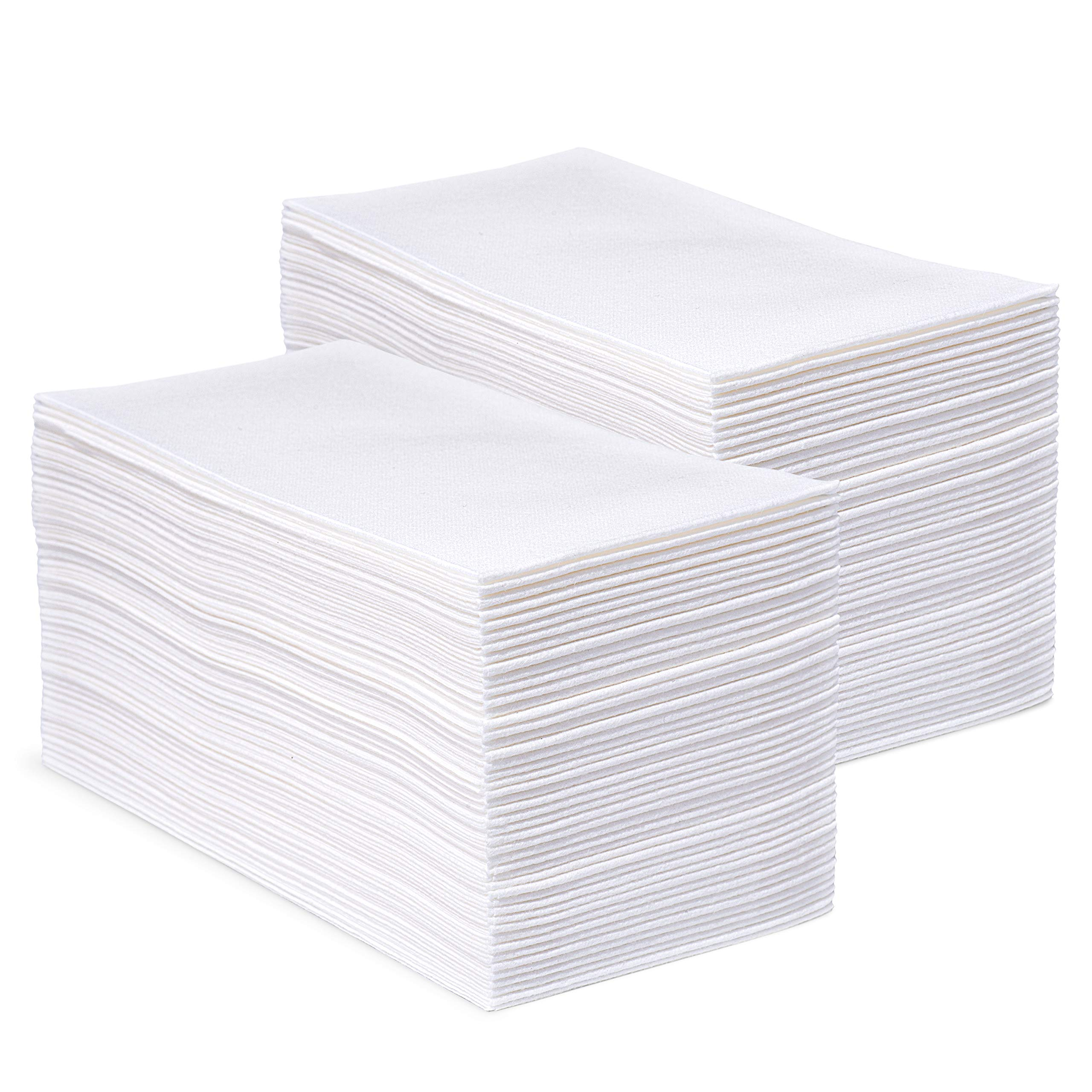 Bellingham Collection White Disposable Napkins and Hand Towels - Home and Office Kitchen Supplies, Toilet and Bathroom Use - Super Soft Linen-Like Airlaid Multifold Tissue - 12''x17'' - 200 Pcs