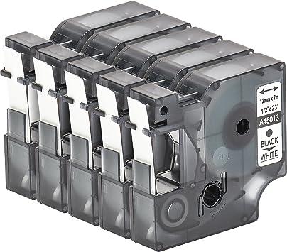 5x Schriftbandkassette für Dymo D1 12mm Schwarz auf weiß Dymo 45013 LM450 300