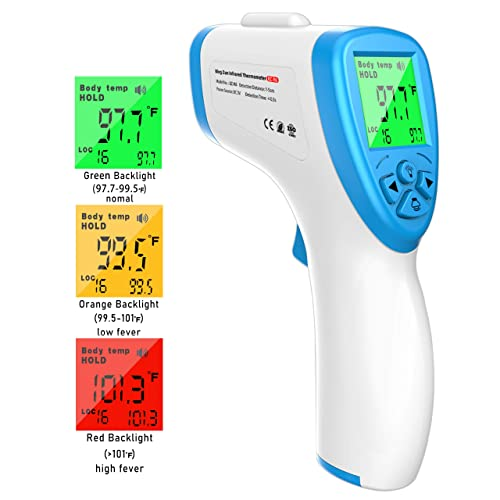 Non-Contact Infrared Forehead Thermometer Reads F and C with Fever Alert Function for Baby Adults and Surface of Object Digital Medical Infrared Ear Thermometer Instant Results Dark Blue