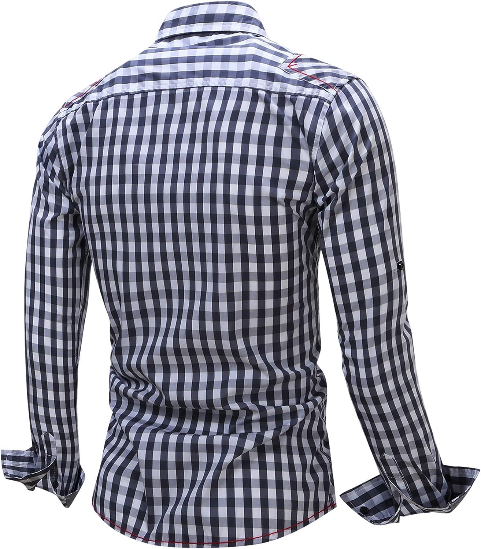 DD.UP Mens 100/% Cotton Long Sleeve Plaid Slim Fit Casual Button Down Dress Shirt