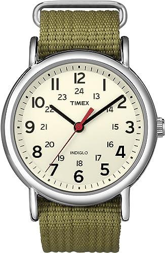 Amazon.com: Timex Unisex T2N651 Weekender 38mm Olive Nylon Slip-Thru Strap  Watch: Timex: Watches