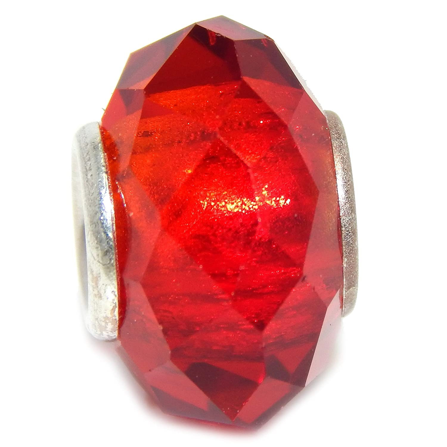 Solid 925 Sterling Silver Glass Prism Design Charm Bead Red