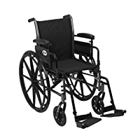 Drive Medical Cruiser III Light Weight Wheelchair with Various Flip Back Arm Styles and Front Rigging Options