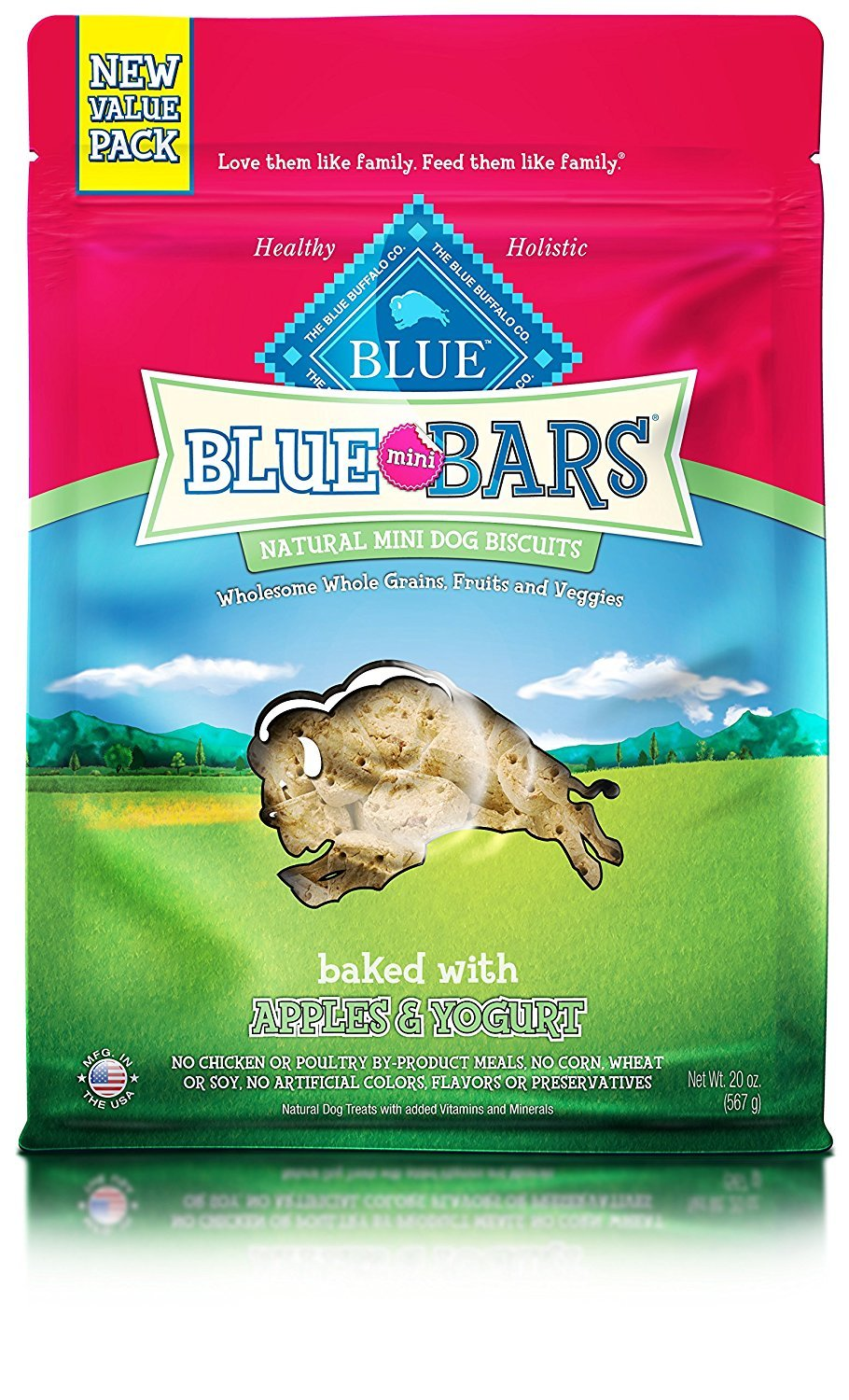 BLUE Mini Bars Crunchy Dog Treats, Apples Yogurt, 20 oz 2 Pack