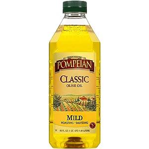 Pompeian Classic Olive Oil, Mild Flavor, Perfect for Roasting & Sauteing, Naturally Gluten Free, Non-Allergenic, Non-GMO, 48 FL. OZ.