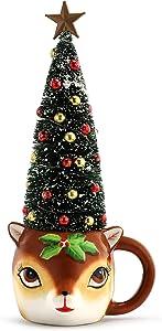 Mr. Christmas Mug with Sisal Tree - Reindeer Christmas Décor, Brown