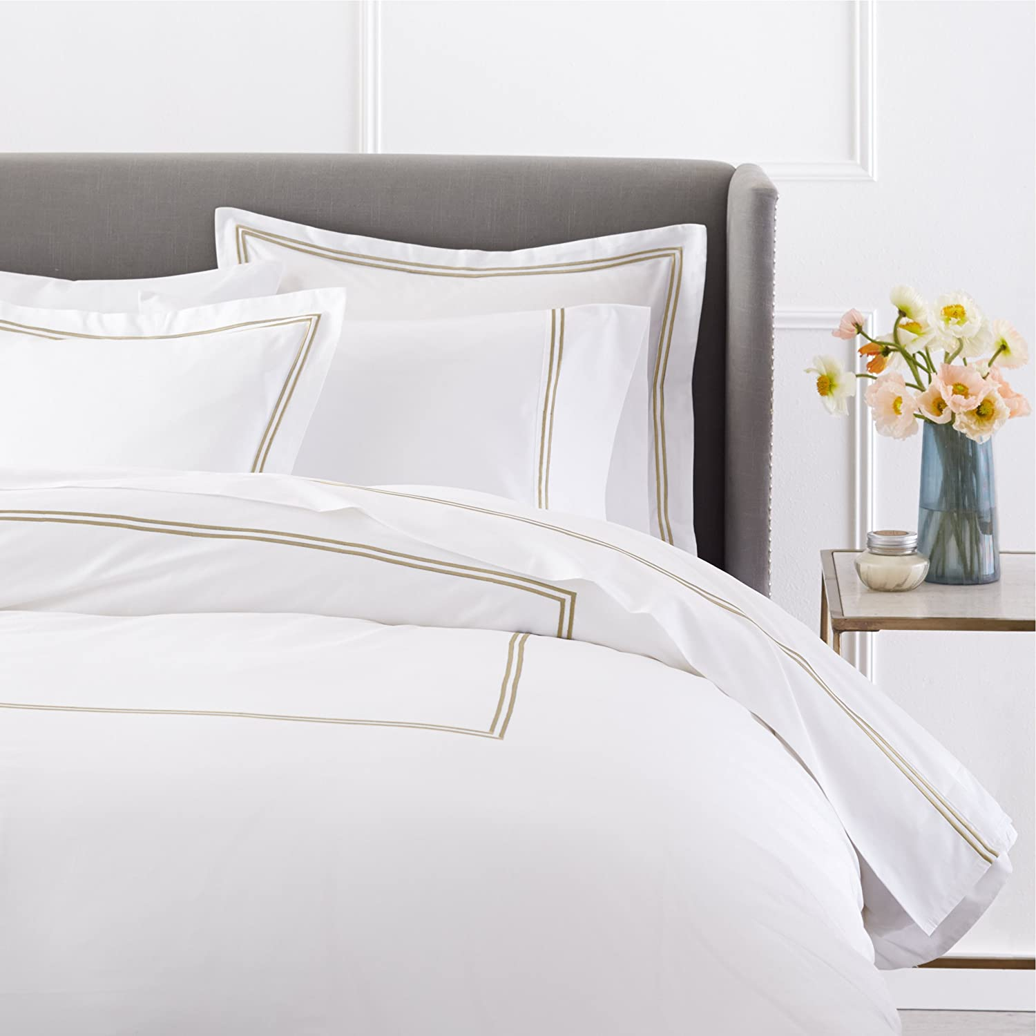Pinzon 400 Thread Count Egyptian Cotton Sateen Hotel Stitch Duvet Cover - Full or Queen, Taupe