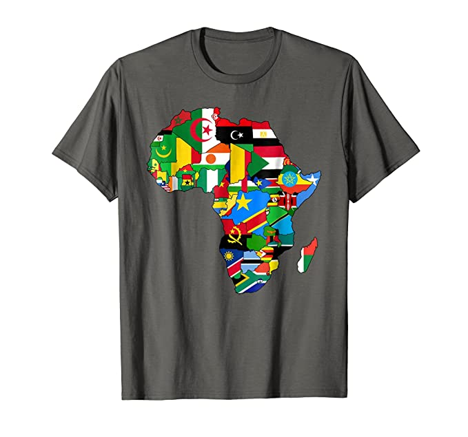 amazon com africa map t shirt african country flag collage t shirt