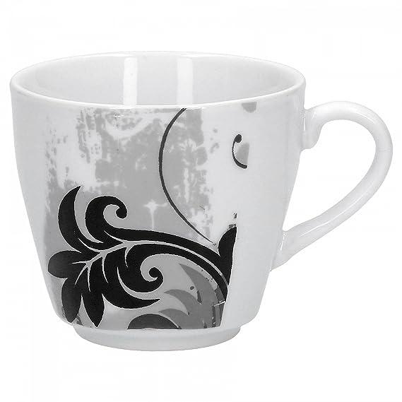 2tlg Set Kaffeetasse mit Untertasse Black Flower Kaffee Tassen Dekor Porzellan