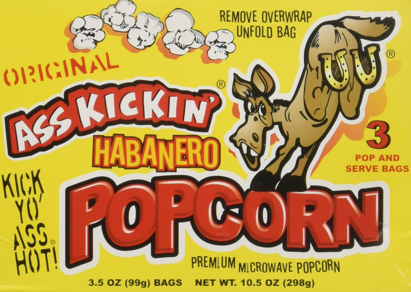 Ass Kickin Habanero Popcorn 3-Pack (3.5oz per bag)- Put