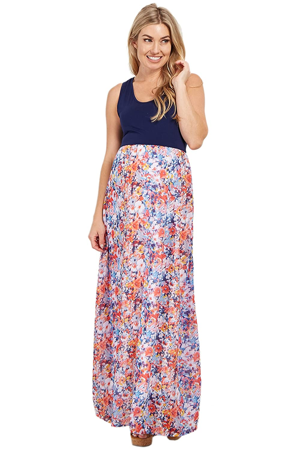 6f0d7e4592712 PinkBlush Maternity Navy Blue Abstract Floral Bottom Maternity Maxi ...