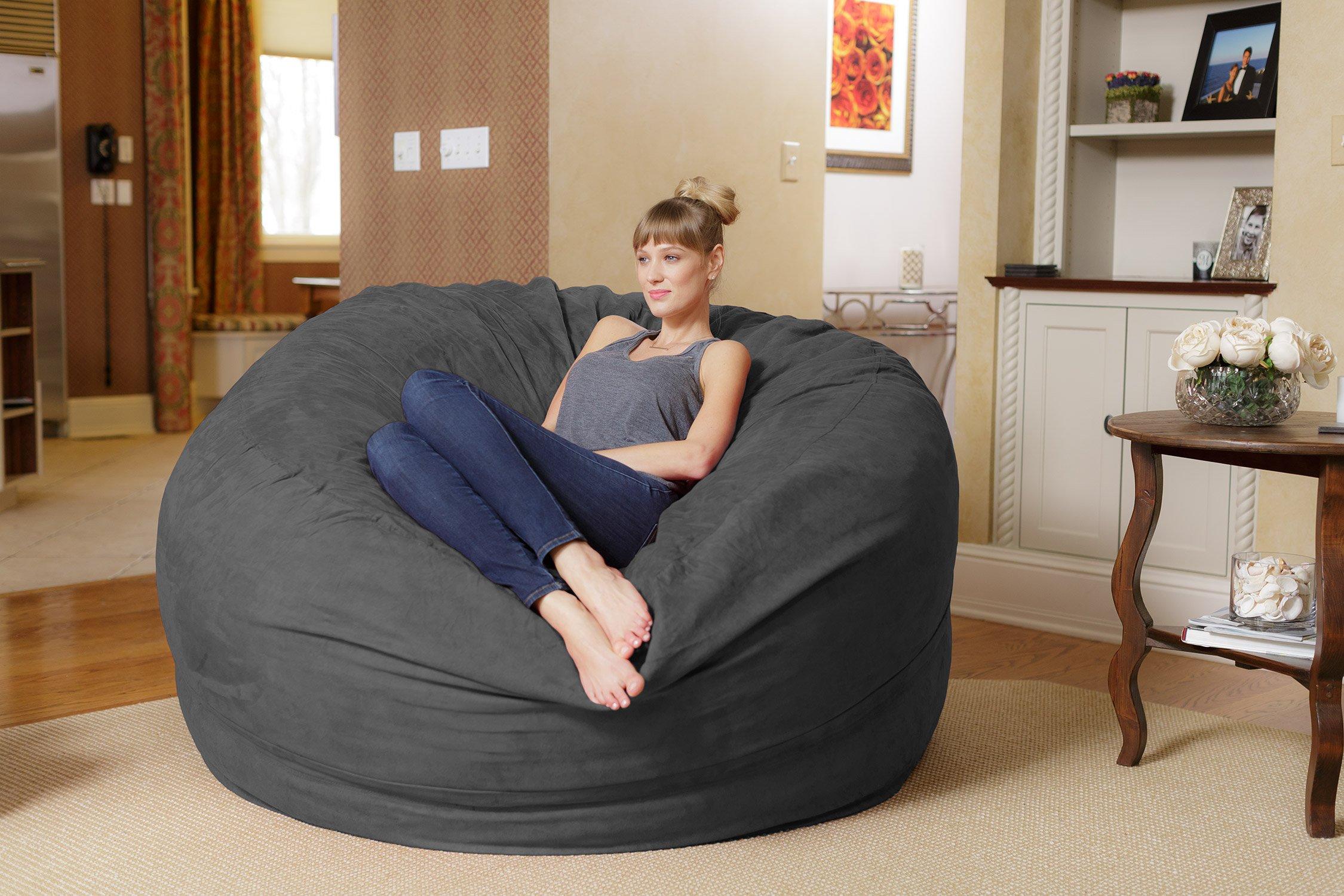 Bean Bag Chair Lounger Giant 6' Memory Foam Big Sofa Soft ...