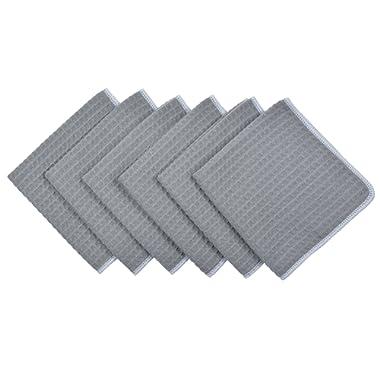 SINLAND Microfiber Waffle Weave Dishcloths Cleaning Cloths 6 Pack 13inch X 13inch Grey