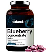 Blueberry Capsules, Whole Fruit Blueberry Concentrate, 6000mg Herbal Equivalent, 200 Capsules, Support Immune System, Rich in Vitamin C, Antioxidant, Flavonoids, Polyphenols and Anthocyanins