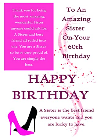 Sister 60th Birthday Card With Removable Laminate