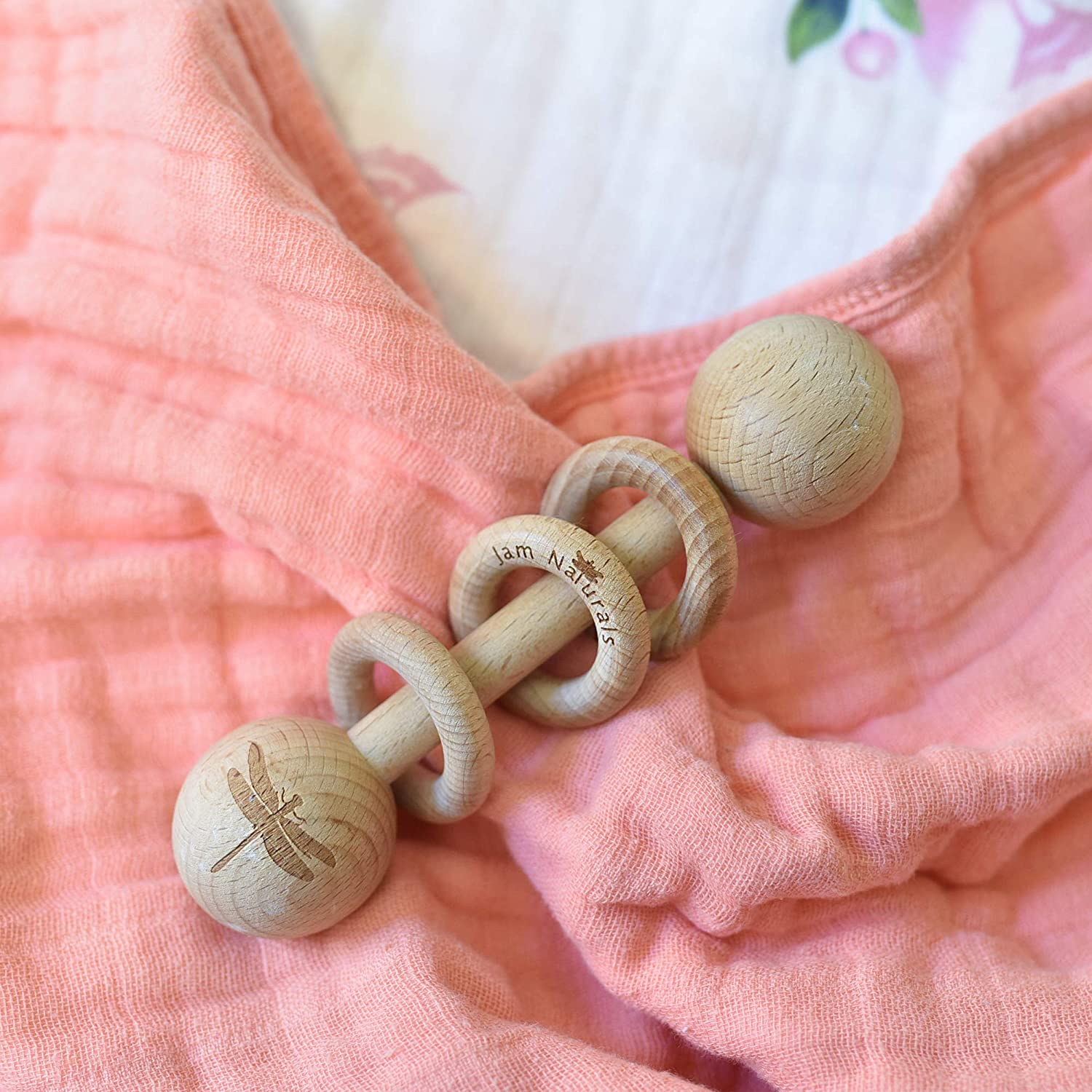 Montessori Inspired Rattle for Babies Wood Baby Rattle Jam Naturals
