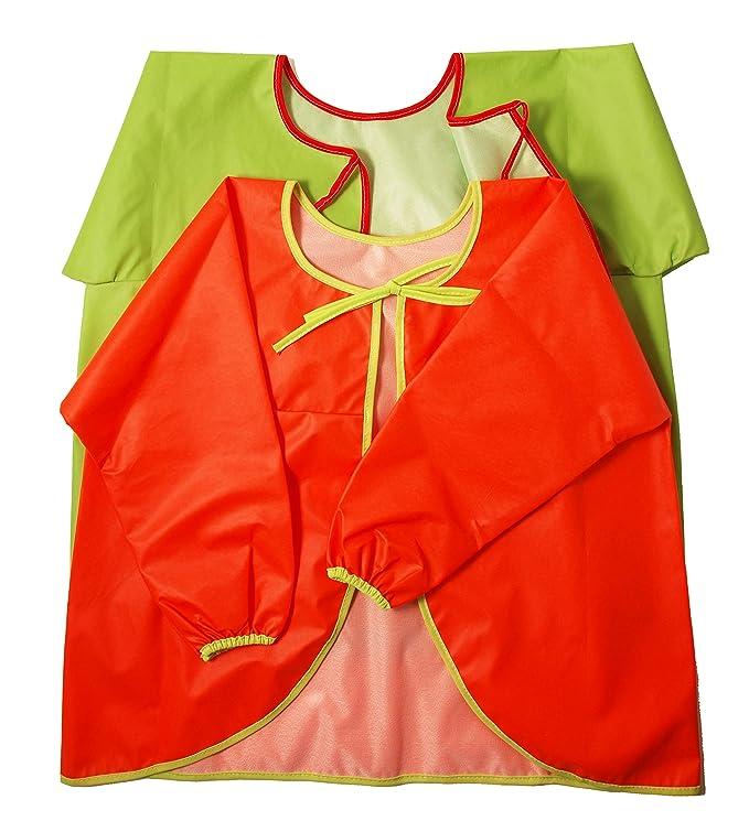Ti TIN Pack 2 Baberos Batas Impermeables para Bebé/Transpirables/100% Poliuretano/Baberos con Mangas/Cierre con Cintas, Talla 1, 2 y 4 años: Amazon.es: Bebé