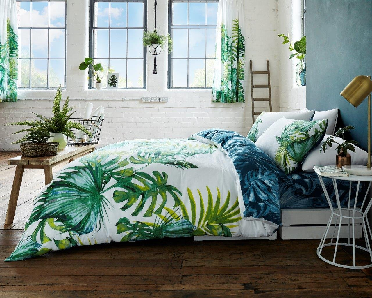 Gaveno Cavailia Luxury TROPICAL LEAF Bed Set with Duvet Cover and Pillow Case, Polyester-Cotton, Green, Double Gaveno Cavalia 11131588