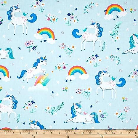 Aqua from Enchanted Unicorns Robert Kaufman Cotton Fabric