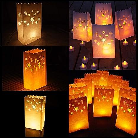 Bolsas para velas - 10 unidades Bolsas de Luz Linternas Pantalla Papel Luminaria para Velas Bolsas - Estrella diseño para Fiestas Cumpleaños Jardín ...