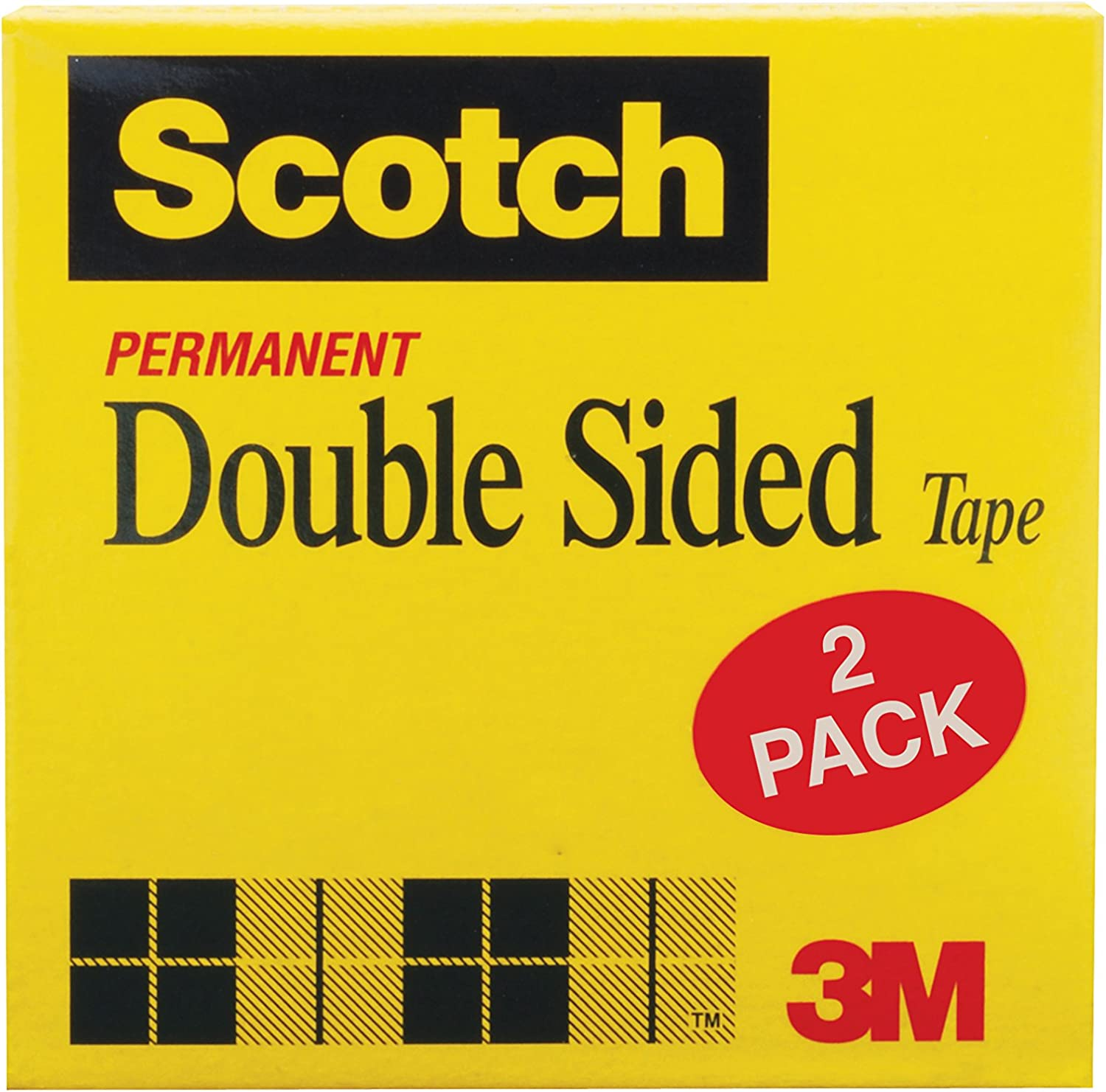 Scotch Double Sided Tape, Narrow Width, Engineered for Office and Home Use, 1/2 x 1296 Inches, 3 Inch Core, 2 Rolls (665-2P12-36)