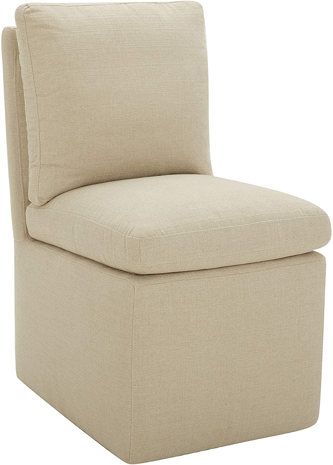 """Amazon Brand – Stone & Beam Vivianne Modern Upholstered Armless Dining Chair with Casters, 19.7""""W, Hemp"""