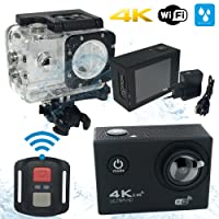 MYCAM4 Action Cam 4K WIFI Sports Action Camera Full HD 16 MPixel Wide Angle 170 ° LCD 2.0 Inch Professional Waterproof Case with Accessories Kit for Swimming Cycling and other Outdoor Sports