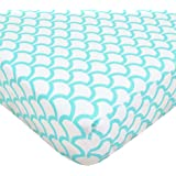 TL Care 100% Cotton Percale Fitted Crib Sheet, Aqua Sea Wave