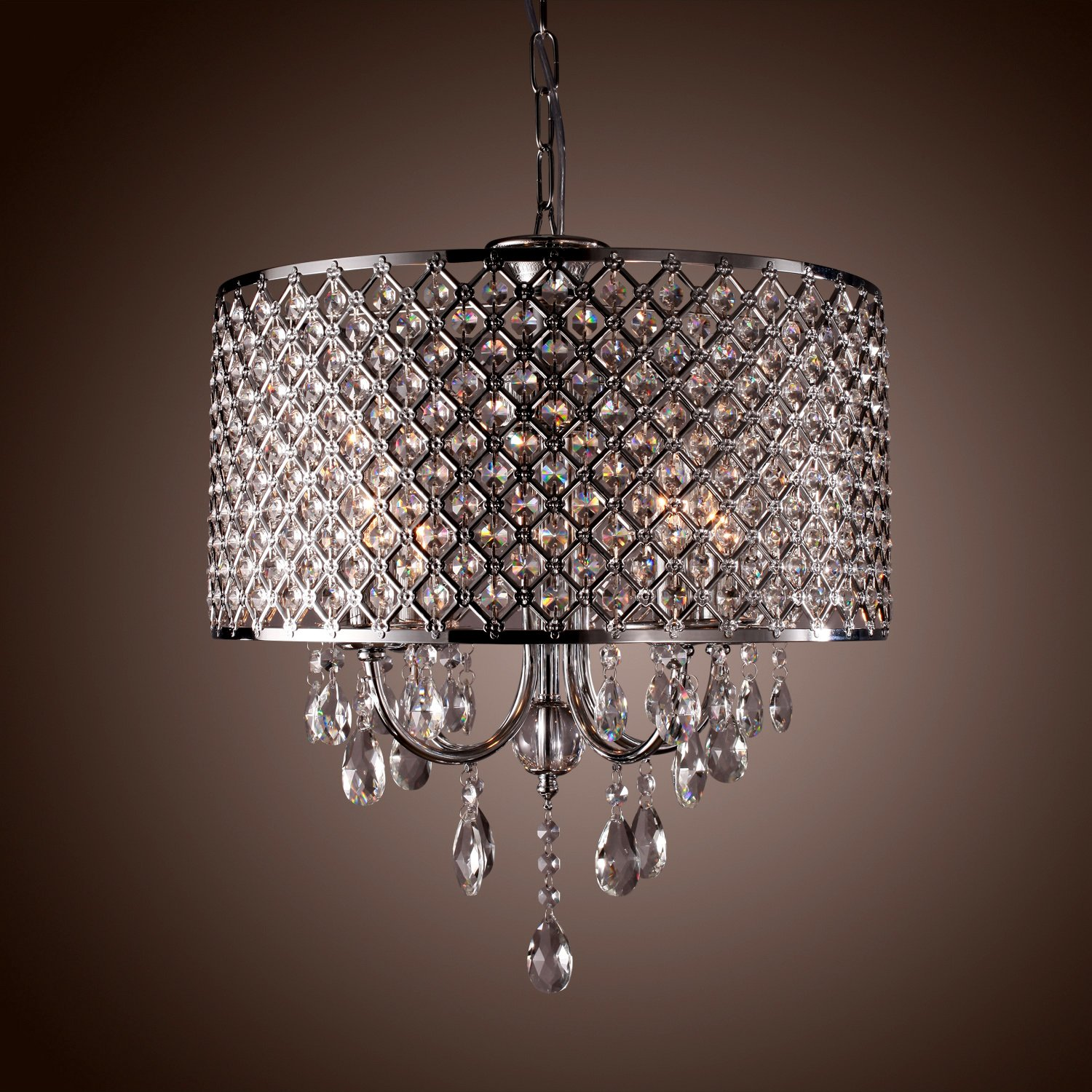 4 light round hanging crystal chandelier pendant ceiling fixture chrome finish