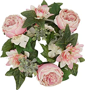 Admired By Nature Artificial Pink 13'' Artficial Flower Candle Ring Handmade Floral Spring Wreath for Front Door Wall Wedding Party Home Decor ABN1W005-PK-CM
