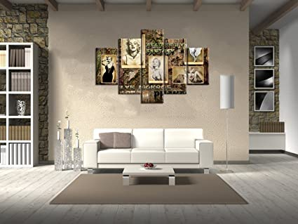 Extra Large Wall Artclassical Marilyn Monroe Painting On Canvas 5 Piece Wooden Picture Posters And Prints Artwork Wall Decor For Living Room Home