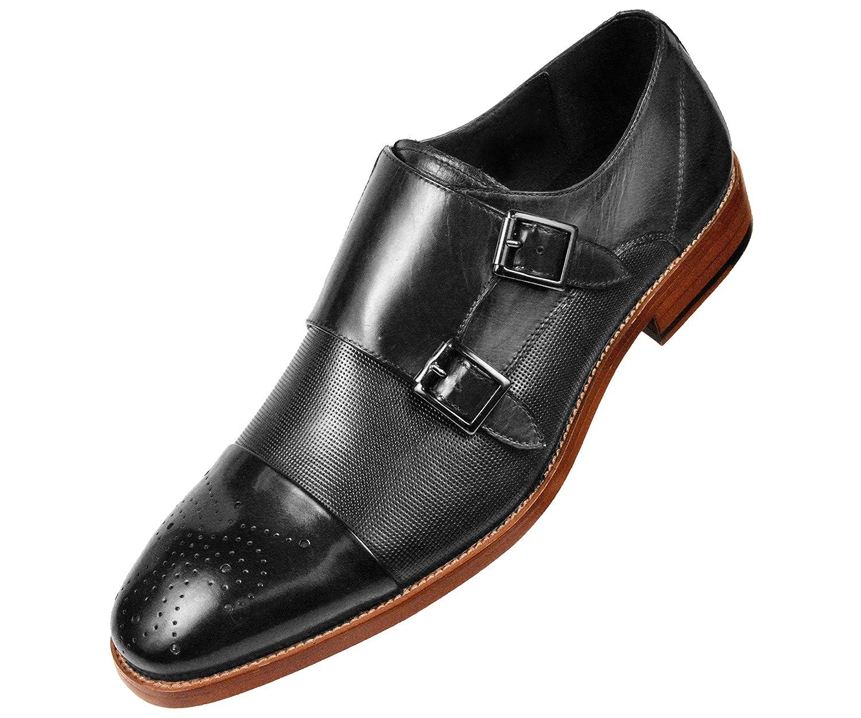 Asher Green Mens Black Genuine Leather Double Monkstrap w// Cap Toe AG1101-000