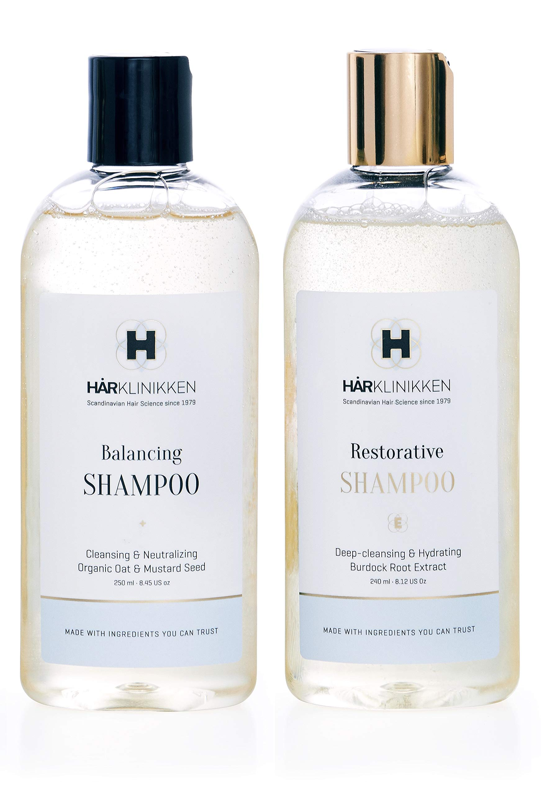 Harklinikken Advanced Cleansing & Treatment Set | 8.45 Oz. Balancing Shampoo & 8.45 Oz Restorative Shampoo | When washing daily: Alternate Product - For All Hair Types - Natural & Plant-Based by Harklinikken (Image #1)