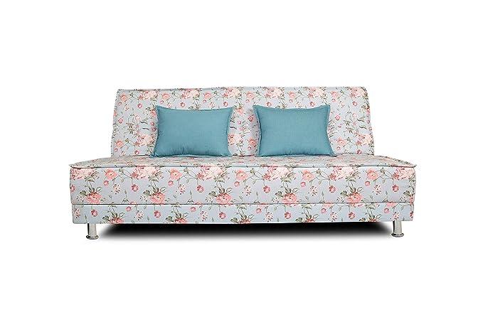 Adorn India Roselyn 3 Seater Sofa Cum Bed Digitel Print (Aqua Blue)
