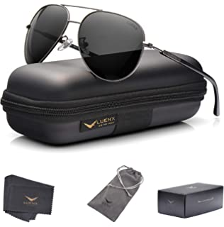 f57db8d811 LUENX Aviator Sunglasses Womens Polarized Mirror with Case - UV 400  Protection 60MM