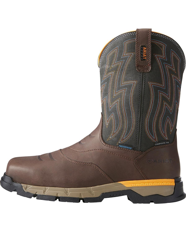 Ariat Men's Rebar Flex H2o Western Work Boot Composite Toe Brown 7.5 EE by Ariat (Image #2)