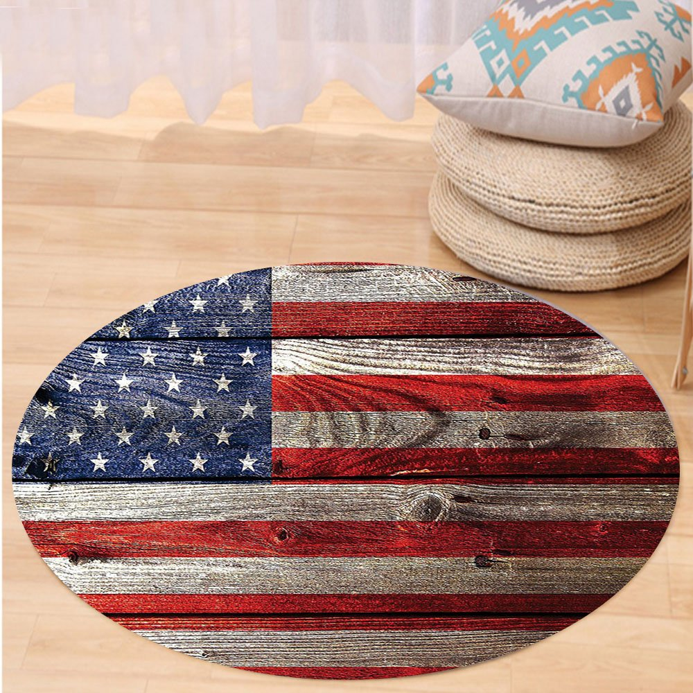 Niasjnfu Chen Custom carpetRustic Decor American Usa Flag Fourth Of July Independence Day Weathered Retro Wood Looking Country Emblem Bedroom Living Room Dorm Decor