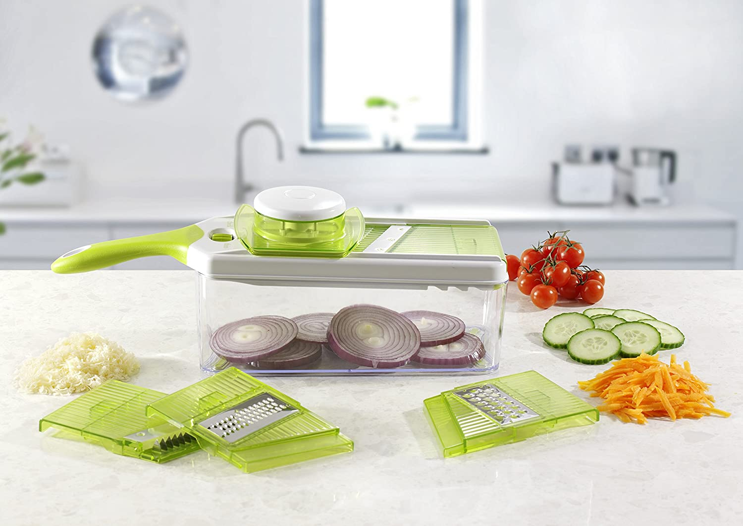 Amazon.com: Mandoline Slicer Set, Cuts Fruits & Vegetables, Straight ...