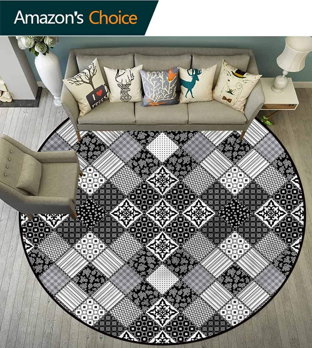 Patchwork Colorful Round Rugs Diagonal Checks Pattern Room Rugs Diameter-71 by Philip C. Williams