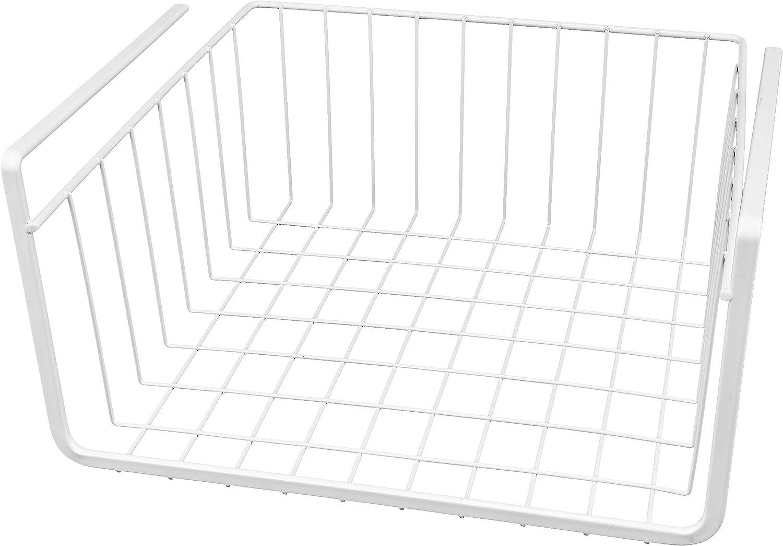 Southern Homewares White Wire Under Shelf Storage Organization Basket 11-Inch
