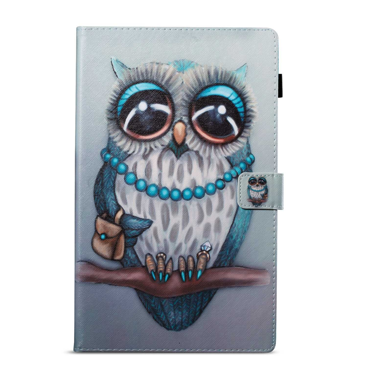 Owl Painted style Premium Leather Case Stand Design BoxTii Kindle Fire HD 10 Case Slim Fit Folding Case with Card slots and Cash holder for Kindle Fire HD 10