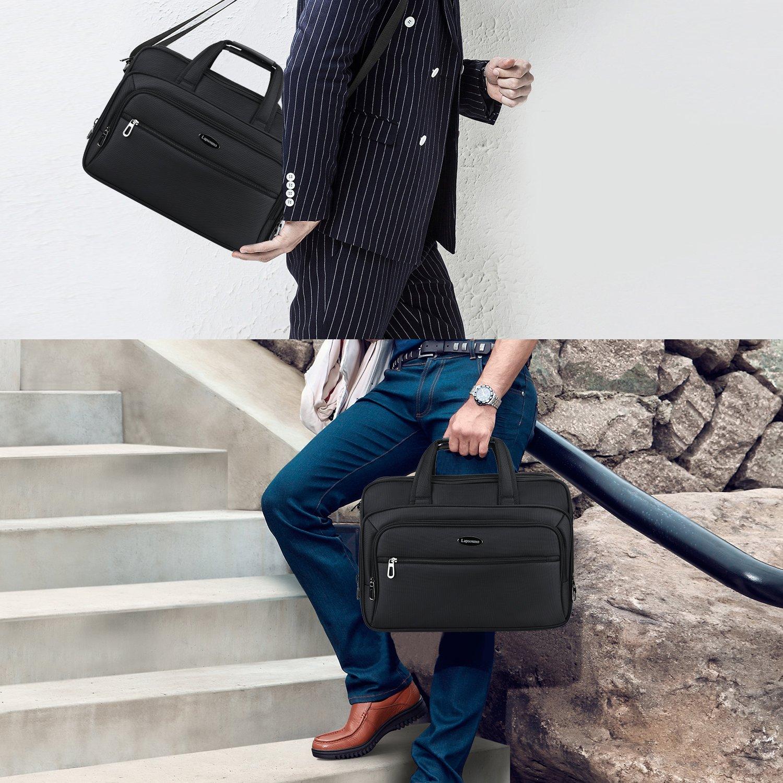 15.6 inch Laptop Briefcase, Expandable Large Shoulder Bag with Adjustable Shoulder Strap for Business Travel College Office Multi-function Shockproof Case Waterproof Messenger Handbag by Welist (Image #7)